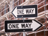 Urban Nightmare, 2 Oneway Signs Photographic Print by Harvey Schwartz
