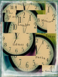 Clocks Montage with City Names Photographic Print by Robert Cattan