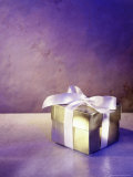 Gold Gift Box with White Ribbon Photographic Print by Ellen Kamp