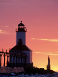 Sunset at Michigan East Pier Lighthouse, IN Photographic Print by David Davis