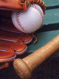 Still Life of Baseball Glove, Ball, and Bat Photographic Print by Mark Polott