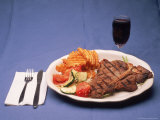 T-Bone Steak Dinner with Wine Photographic Print by Bud Freund