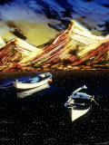 Abstract Image of Boats on Lake and Mountains Photographic Print