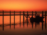 Silhouette of Boat at Sunset, FL Photographic Print by Don Romero