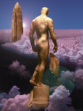 Male Statue and Buildings in Clouds Photographic Print by Jim McGuire