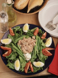 Nicoise Salad and Rolls Ready to Be Served Photographic Print by Gary Conner