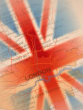 Map Highlighting London and British Flag Photographic Print by Carol & Mike Werner