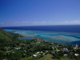 Aerial View of Moorea Showing Village and Reefs Photographic Print by Barry Winiker