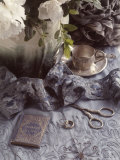 Still Life with Vase, Wedding Rings, Silver Tea Set Photographic Print by Wendi Schneider