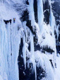 Man Ice Climbing Rammstein, Baejargil, Iceland Photographic Print by Greg Epperson