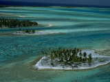 Sandbars with Palm Trees, Bora Bora Photographic Print by Mitch Diamond