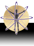 Male Figure in Atom with Electrons Photographic Print by Ellen Kamp
