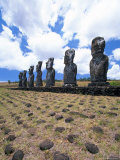 The Seven Moais at Ahu Akivi, Easter Island, Chile Photographic Print by Walter Bibikow