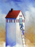 Couple Climbing Ladder to Big House Photographic Print by Karen Stolper