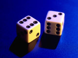 Two Dice on Blue Background Photographic Print by Jim McGuire