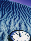 Clock Reading 11:55 Pm in the Sand Photographic Print by David Wasserman
