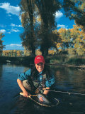 Woman Fly Fishing in CO Photographic Print by Paul Gallaher
