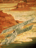 Money Plane Flying Over Landscape with Binary Code Photographic Print by Carol & Mike Werner