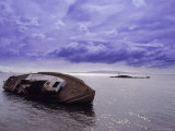Sailboat Wreck, Person on Rock Photographic Print by William Swartz