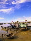 Moored Fishing Boats, Han River, Vietnam Photographic Print by Walter Bibikow