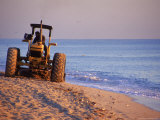 Tractor Plowing Beach, Miami Beach, FL Photographic Print by Jeff Greenberg