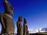 Moai at Ahu Tahai, Easter Island, Chile Photographic Print by Angelo Cavalli
