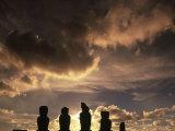 Moai at Ahu Tahai, Easter Island, Chile Photographic Print by Angelo Cavalli