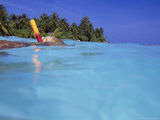 Woman Snorkeling, Maldives Islands, Indian Ocean Photographic Print by Angelo Cavalli