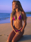 North Oahu, HI, Woman in Swimsuit Posed on Beach Photographic Print by Bill Romerhaus