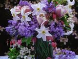 Daffodil, Tulip, Bluebells, and Bleeding Heart in Glass Vase Fotodruck von James Guilliam