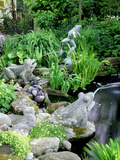 Stone Frog Fountains, Cobbles and Rocks Around Pond Photographic Print by Ron Evans