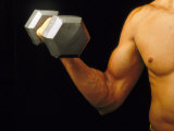 Body Building-Curling Dumbbell Biracial Photographic Print by David M. Dennis