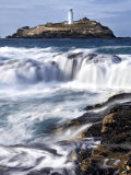 Godrevy Lighthouse in Large Waves, Conwall, UK Photographic Print by David Clapp