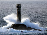 Longships Lighthouse in Huge Swells at Lands End, UK Photographic Print by David Clapp