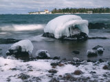 Ice Formations on Lake Superior Below Copper Harbour Lighthouse, Keweenah Peninsula, Michigan, USA Photographic Print by Willard Clay