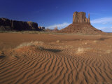 West Mitten Butte and Sand Dunes, Navajo Tribal Park, Utah Photographic Print by Mark Hamblin