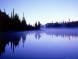 Reflection Lake at Dawn with Silhouetted Pines, Washington, USA Photographic Print by Mark Hamblin