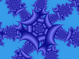 Abstract Blue Fractal Patterns on Sky Blue Background Photographic Print by Albert Klein