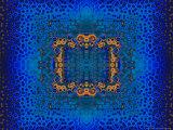 Blue and Orange Fractal Design Fotodruck von Albert Klein