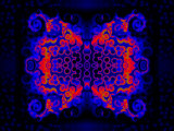 Blue and Red Fractal Design on Dark Background Photographic Print by Albert Klein