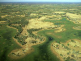 Aerial View of Inland Sea Formed by Okavango Delta, Botswana Photographic Print by Steve Turner