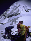 Climbers on Everest, Nepal Print by Michael Brown
