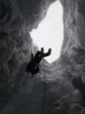 Climber in Snowy Crevasse, Switzerland Posters by Michael Brown