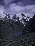Snowy Mountains with Lake, Chile Photographic Print by Michael Brown