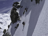 Climbing up a Steep Snow Face, New Zealand Photographic Print by Michael Brown