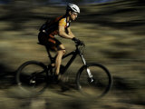 Fast Moving Mountain Biker, Mt. Bike Photographic Print by Michael Brown