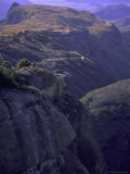 Looking Down at Climbers on Mountain Top, Madagascar Photographic Print by Michael Brown