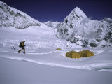 Mountaineer Approaching Camp One Everest Northside Photographic Print by Michael Brown