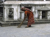 Woman Sweeping, Nepal Photographic Print by Michael Brown