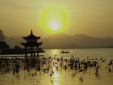 Westlake with Chineese Pavillon During Sunset, China Photographic Print by Ryan Ross
